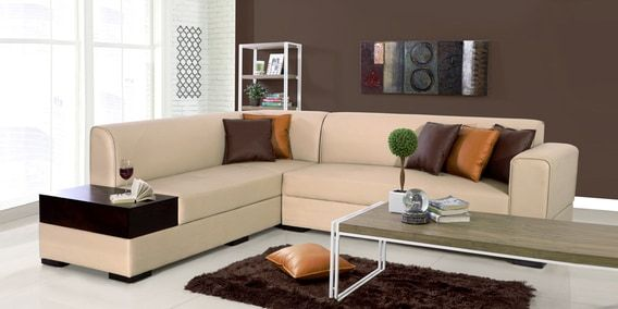 Alden Rhs Sectional Sofa In Light Brown Leatherette By Evok