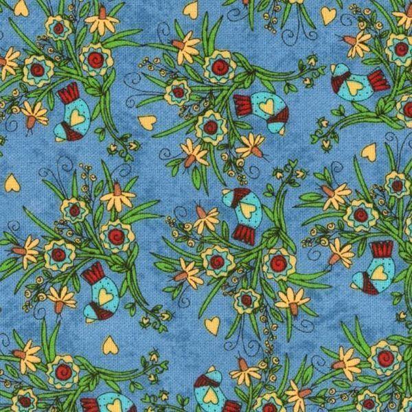 tela azul con pájaros pequeños