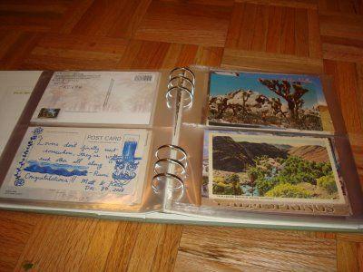 Cool way to keep postcard guestbook post-wedding.