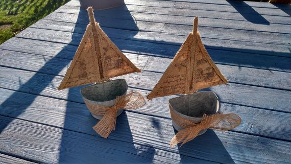 Boat-tin Buckets Galvanized Tin Wall Pocket by NewEnglandTreasure
