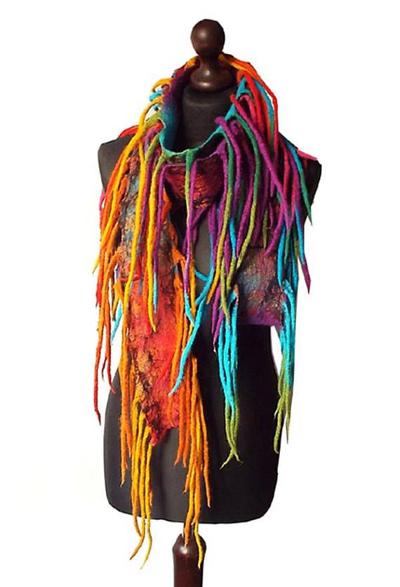 Felted Scarf Felt Collar Felted Necklace Art to wear Multicolor Wearable Art Rainbow Fun Wool necklace Colorful Boho Fringes Gift OOAK  Felted scarf/ necklace made from finest Australian merino wool and hand dyed cotton gauze. Colors: multicolor - yellow, orange, red, shades of