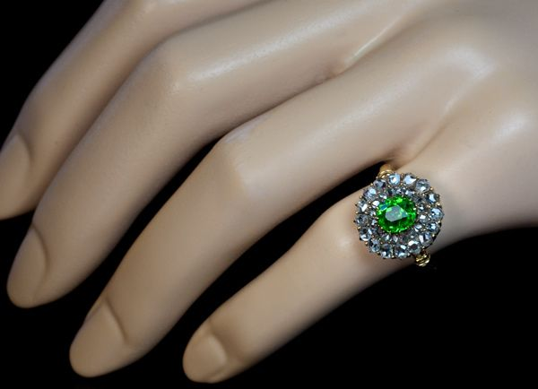 Antique Chrysoprase and Rose Diamond Victorian Ring This superb, circa 1900, target ring is featuring an excellent emerald green rare Russian demantoid gar