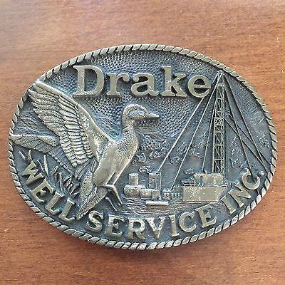 Vintage Drake Well Service Inc Brass Belt Buckle    eBay