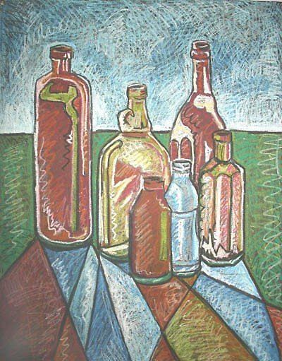 Bottle Still Life, By Christopher Clark, Oil pastel on black textured paper.