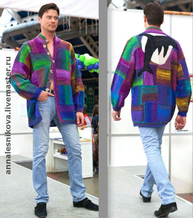 """Купить Мужской жакет """"ДЕЛЬФИН-2"""" - вязание спицами, подарок мужчине, подарок для мужчины, для мужчин"""