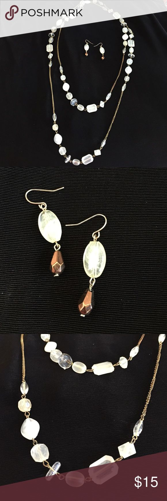 Cream, white & clear crystals/ antiqued gold chain Necklace can be worn long or doubled over as shown. The earrings I wore with them can be a gift to you if you like them! They have a matching Crystal with a drop of copper Jewelry Necklaces