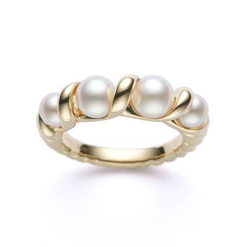 Tasaki Liquid Sculpture 4 Pearls Ring