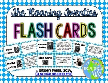 """Roaring Twenties Flash Cards • • Full Set of 58 vocabulary words/terms flash cards with definitions     Terms include:  • Capitalism  • Red Scare  • Charles Lindbergh  • Installment Buying  • Ohio Gang  • Teapot Dome Scandal  • Flapper  • & more!    ★ This flash card set is a great activity to use for review. I print out a few sets, laminate back to back and have the students use them for review before a test/exam. Or, you can have the students utilize them if they """"finish early!"""""""
