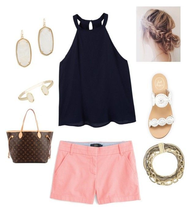 """Summer preppy"" by jkfinan on Polyvore featuring J.Crew, MANGO, Jack Rogers, Kendra Scott and Louis Vuitton Image source"
