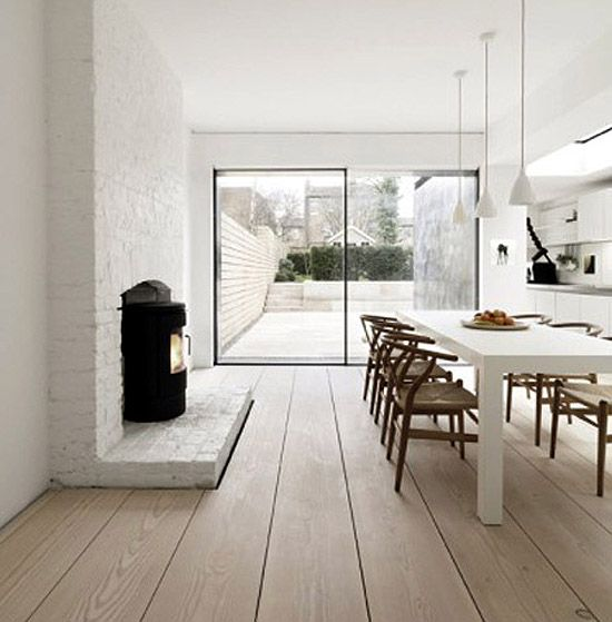 gorgeous floors #extra #wide #floorboards #kitchen #dining #white #modern #contemporary #wood #burner