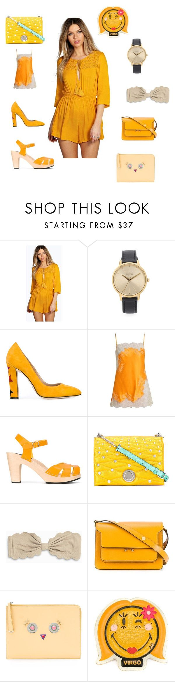 """Looking awesome"" by emmamegan-5678 ❤ liked on Polyvore featuring Boohoo, Nixon, Paula Cademartori, Carine Gilson, Swedish Hasbeens, Bally, Marysia Swim, Marni, Fendi and Anya Hindmarch"
