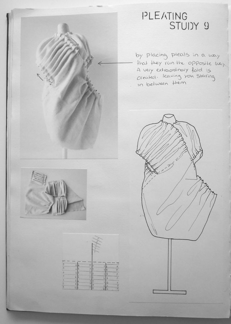 Fashion Sketchbook exploring fabric manipulation with experimental pleat structures - fashion design development; fashion portfolio // Rosa Kramer