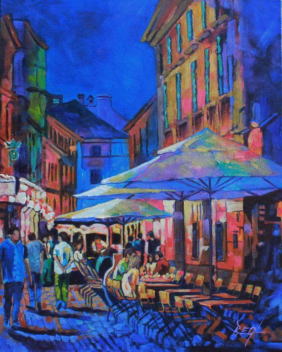 Art Original Oil Painting Canvas art Night Cafes by rbealart