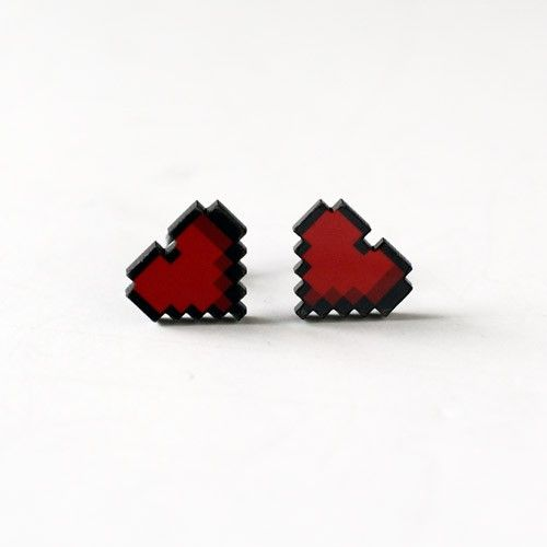 Handmade Gifts | Independent Design | Vintage Goods 8-bit Heart Stud Earrings - Geek Chic