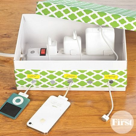 Pretty DIY Charging Center - http://www.firstforwomen.com/solutions/pretty-diy-charging-center#.VFb3NfnF-So