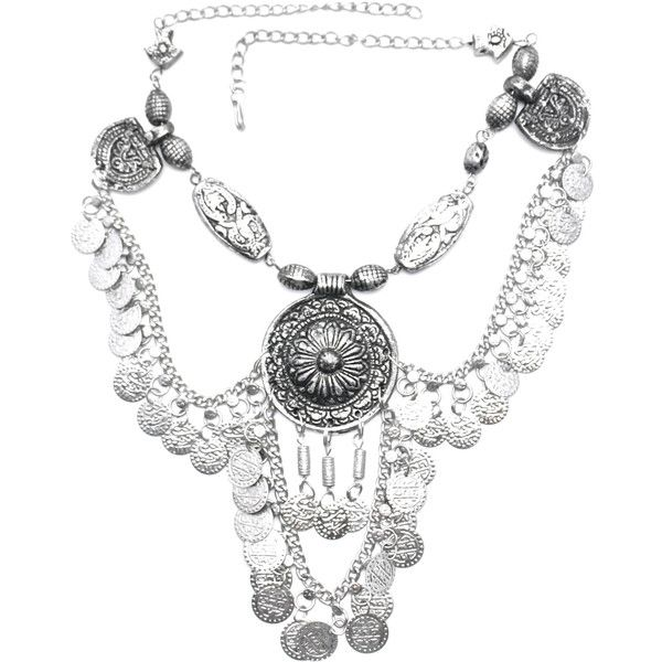 Moon's Vengeance Indian Necklace ($124) ❤ liked on Polyvore featuring jewelry, necklaces, silver, silver tassel necklace, tassel necklace, indian jewelry, coin jewelry and indian silver jewelry
