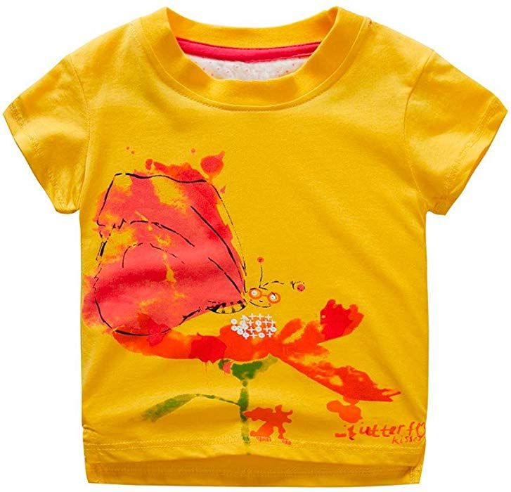 Toddler Kids Baby Boys Girls Short Sleeve Tops T-shirt Tee Blouse Clothes Summer