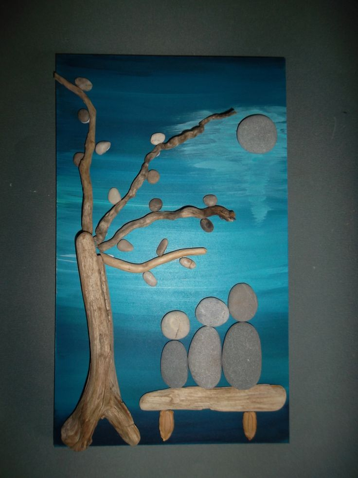 pebbles and driftwood.