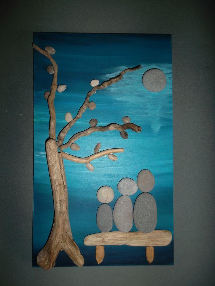 Bild mit Steinen, Mondschein