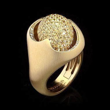 Желтое золото 750, Сапфиры желтые, Бриллианты Артикул: R0034-0/24
