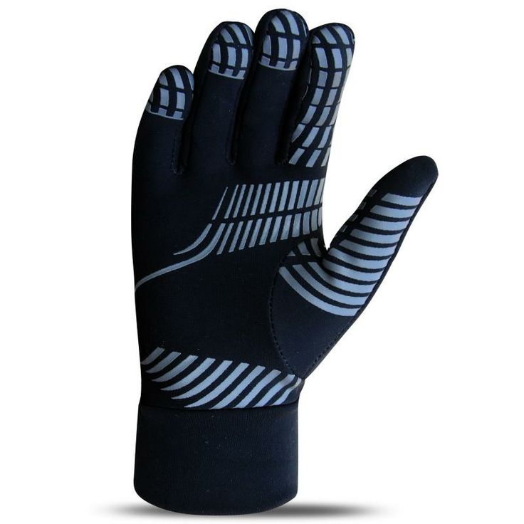 Mens running gloves  Soft and Warm running gloves made of super Roubaix Fabric with two way stretch and brushed back for extra warmth Excellent thermal properties Fast wicking and drying Silicon printing on front palm for extra grip Ideal for outdoor sports especially running and football