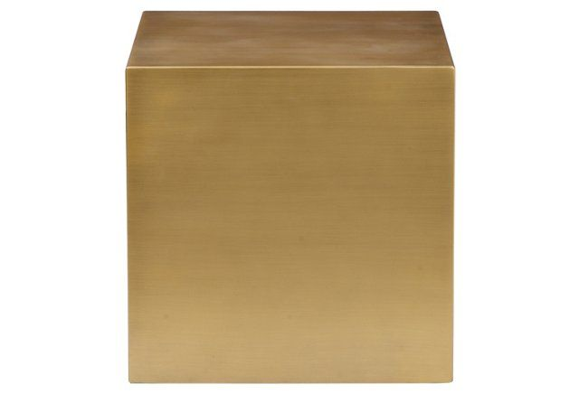 Modern brushed brass cube side table.