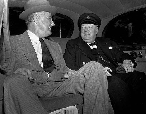 Winston Churchill arrives at the White House with President Roosevelt, 1943.