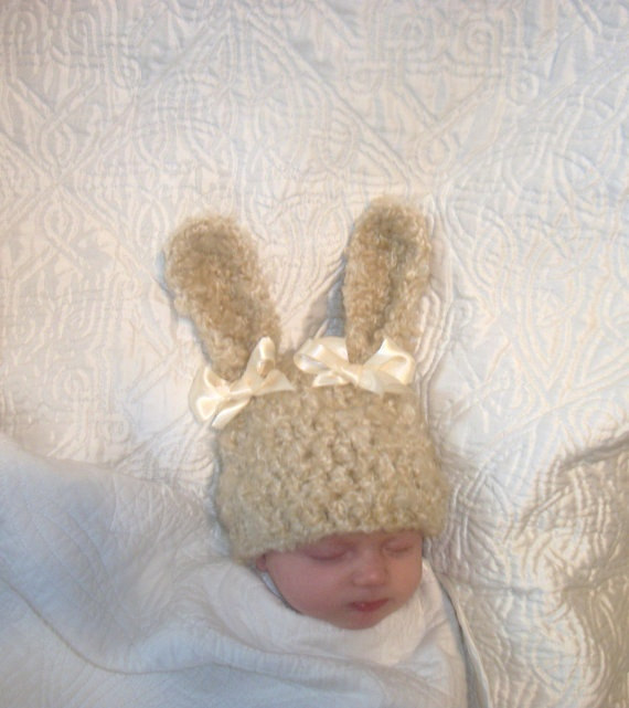 BUNNY HAT  NEWBORN Easter bunny hat  Ready to by crochetedcuddles, $12.95  #bunny #hat #ear #ears #easter #Easter #cream #bows #baby #infant #newborn #beanie #cap #rabbit #fluffy #handmade #crochet #knit