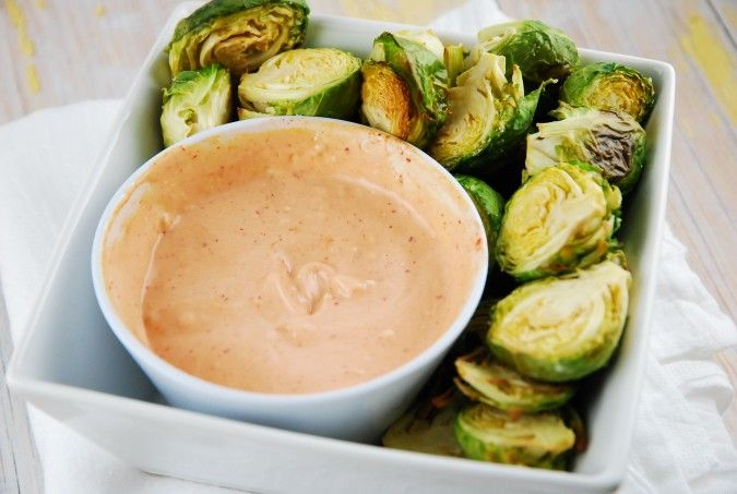 Roasted Brussels Sprouts with Sriracha Aioli - 3 Points + - LaaLoosh