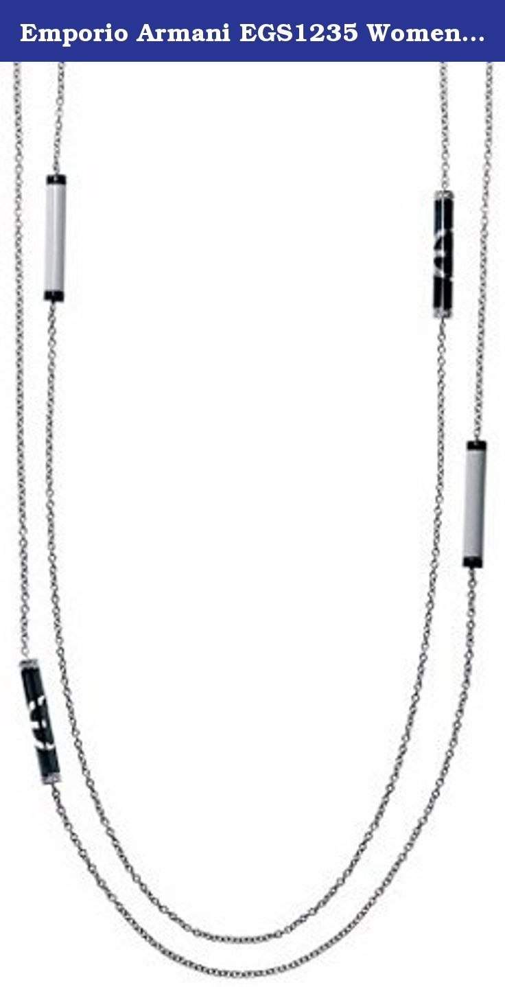 Emporio Armani EGS1235 Women's Stainless Steel Black and White Enamel Beed Necklace Jewelry. Emporio Armani EGS1235 Women's Stainless Steel Black and White Enamel Beed Necklace Jewelry.