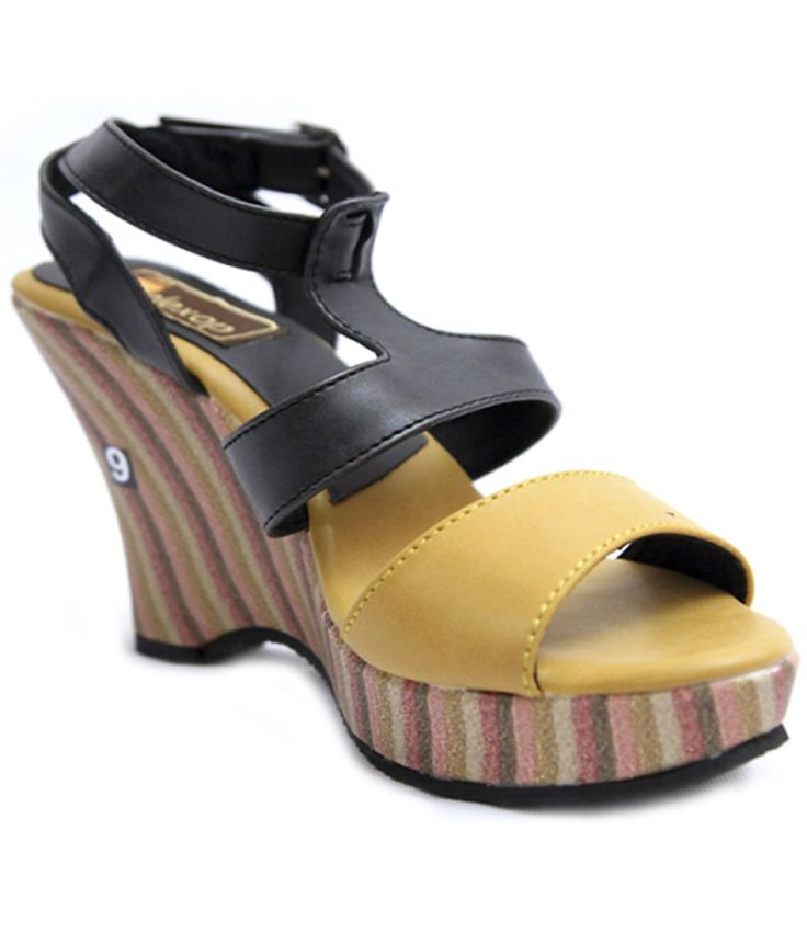Relexop Yellow Wedge Heeled Sandals