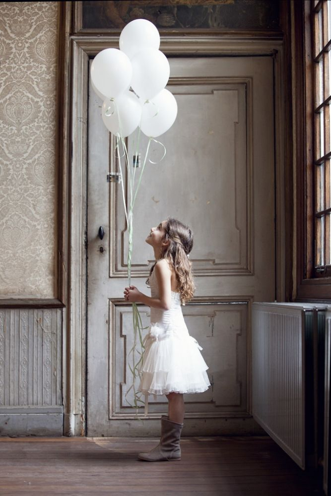 Photography   Young Girl holding White Balloons   Artistic Image