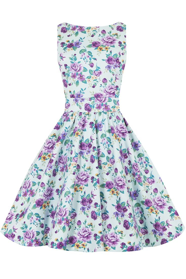Duck Egg Floral Tea Dress : Lady Vintage