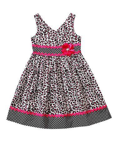 Loving this Black & Pink Leopard Babydoll Dress - Toddler & Girls on #zulily! #zulilyfinds
