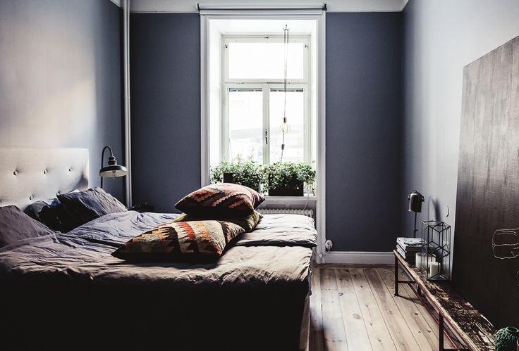 blue gray dark bedroom