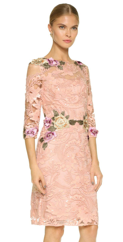 Marchesa Notte Floral Threadwork Cocktail Dress | SHOPBOP