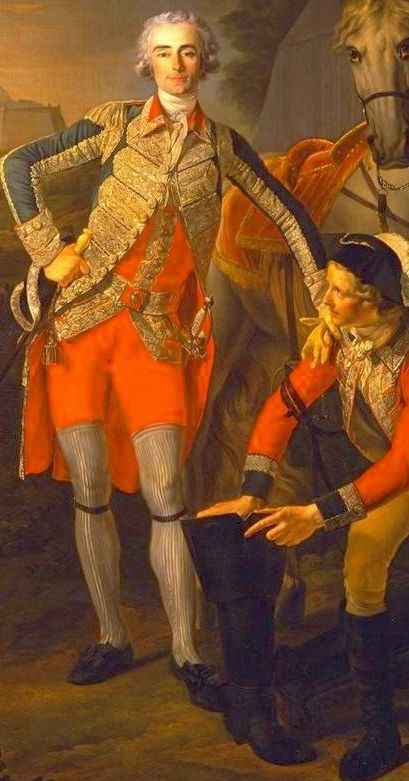 Interesting! stockings pulled up to mid thigh, with garter under the knee and short breeches or breeches tucked into long stockings, in preparation for wearing military boots (with aid of groom). Detail: CHARLES GRANT, VICOMTE DE VAUX, painted in 1781-1782 by Louis-Roland Trinquesse. Grant was a Frenchman of Caledonian extraction who served as a sous-lieutenant in the Scots Company of the Garde du Roi, rising to the rank of Lt Col…