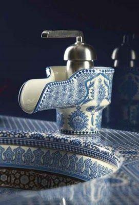 Kohler Marrakesh Collection: faucet: Decor, Bathroom Design, Ideas, Blue Tile, Bohemian Bathroom, Faucets, White Bathroom, Bathroom Sinks, Powder Rooms