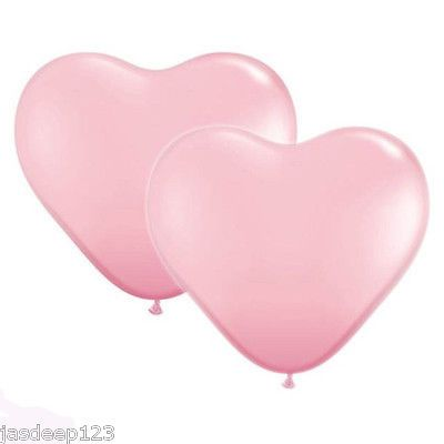 "12 x 6"" Inch Heart Latex Qualatex Balloons Air Quality Wedding Party Love"
