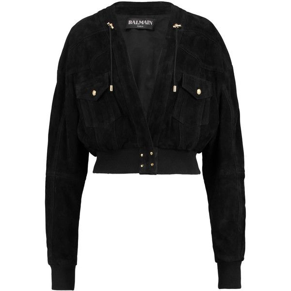 Balmain Leather bomber jacket (1 880 AUD) ❤ liked on Polyvore featuring outerwear, jackets, black, leather flight jacket, genuine leather bomber jacket, 100 leather jacket, bomber jackets and bomber style leather jacket