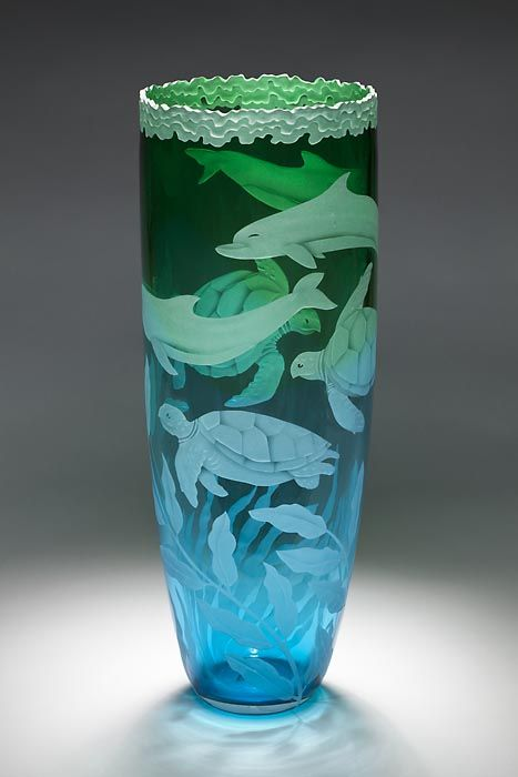 Dolphins and Turtles art glass by Cynthia Myers