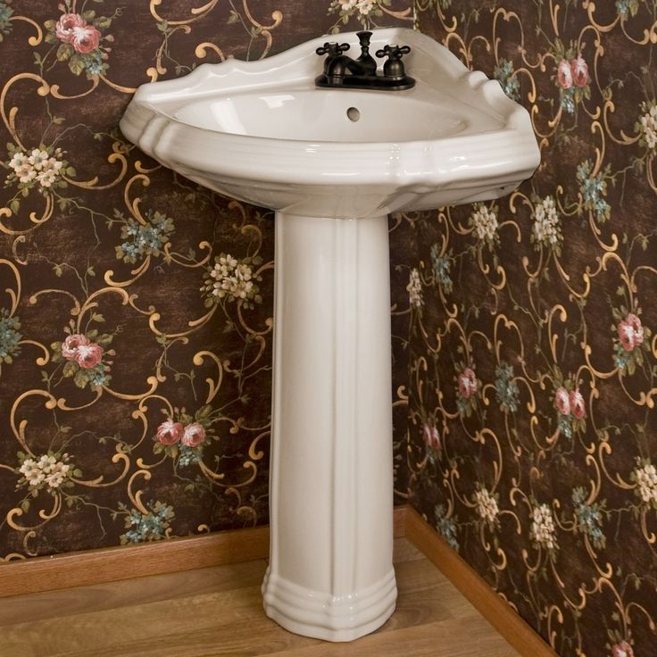 This would give us the most space, but is it awkward now?  Or would it be okay?Regent Corner Porcelain Pedestal Sink