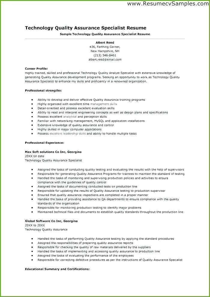 Quality Assurance Resume Resume Resume Pdf Resume Template Professional