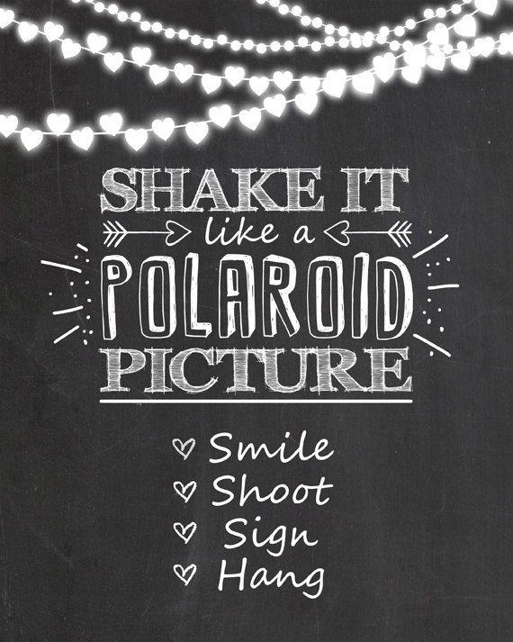 Polaroid sign Photo booth wedding sign Shake by Anietillustration