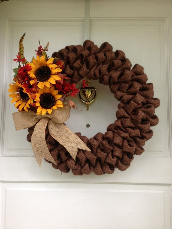 13 best sunflower burlap wreath images on pinterest for Burlap wreath with lights
