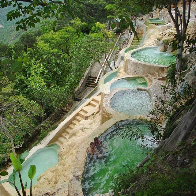 Tolantongo is a box canyon and resort in Mexico. The resort is made up of 3 hotel complexes. You will also find resturants, splashing pools, springs, waterfalls, grottos, and more in the area. . . Near the bottom of the steep canyon are heated pools. The