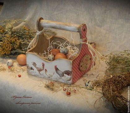Короб ` Утро в деревне`  для яиц, пирожков, лука, чеснока. Ручная работа. Автор Юдина Оксана. Пасха.Кухонный короб. Пасхальный декор.