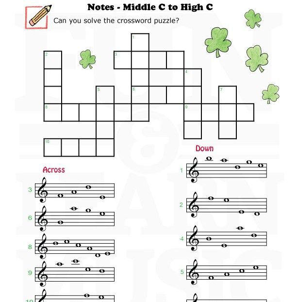 Fun and Learn Music » Music Worksheets – Treble Clef Middle C to High C