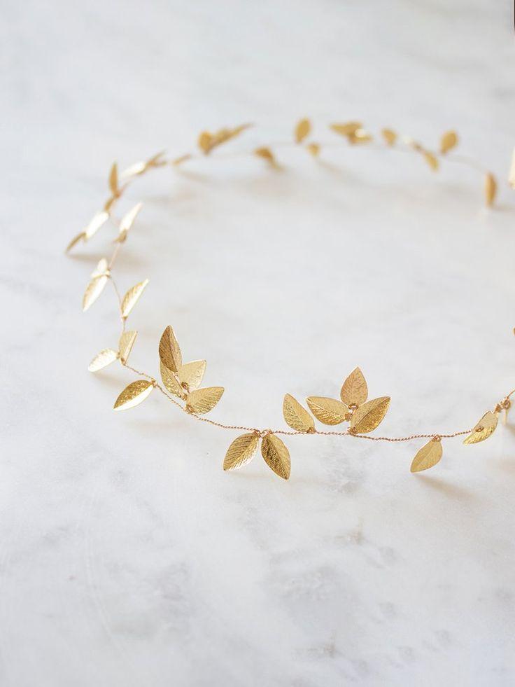 Haarschmuck mit Perlen und Blättern in Gold – Iverness