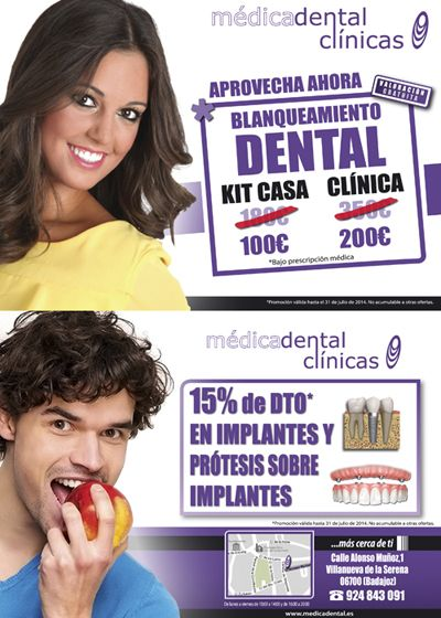 Aprovecha estas  dos nuevas promociones de Medicadental Villanueva de la Serena,  Blancamiento Dental desde 100€ y 15% descuento en Implantes y Prótesis sobre Implantes. Promociones válidas hasta el 31 de Julio